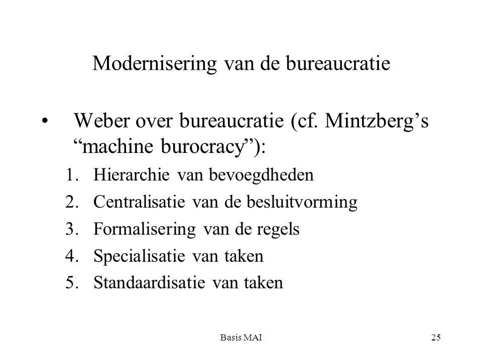 """Basis MAI25 Modernisering van de bureaucratie Weber over bureaucratie (cf. Mintzberg's """"machine burocracy""""): 1.Hierarchie van bevoegdheden 2.Centralis"""