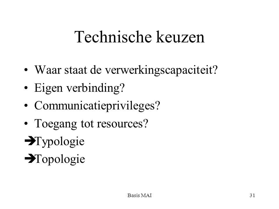 Basis MAI31 Technische keuzen Waar staat de verwerkingscapaciteit? Eigen verbinding? Communicatieprivileges? Toegang tot resources?  Typologie  Topo