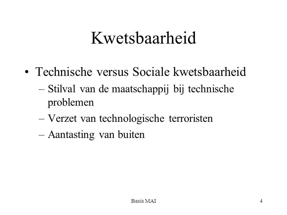 Basis MAI4 Kwetsbaarheid Technische versus Sociale kwetsbaarheid –Stilval van de maatschappij bij technische problemen –Verzet van technologische terroristen –Aantasting van buiten