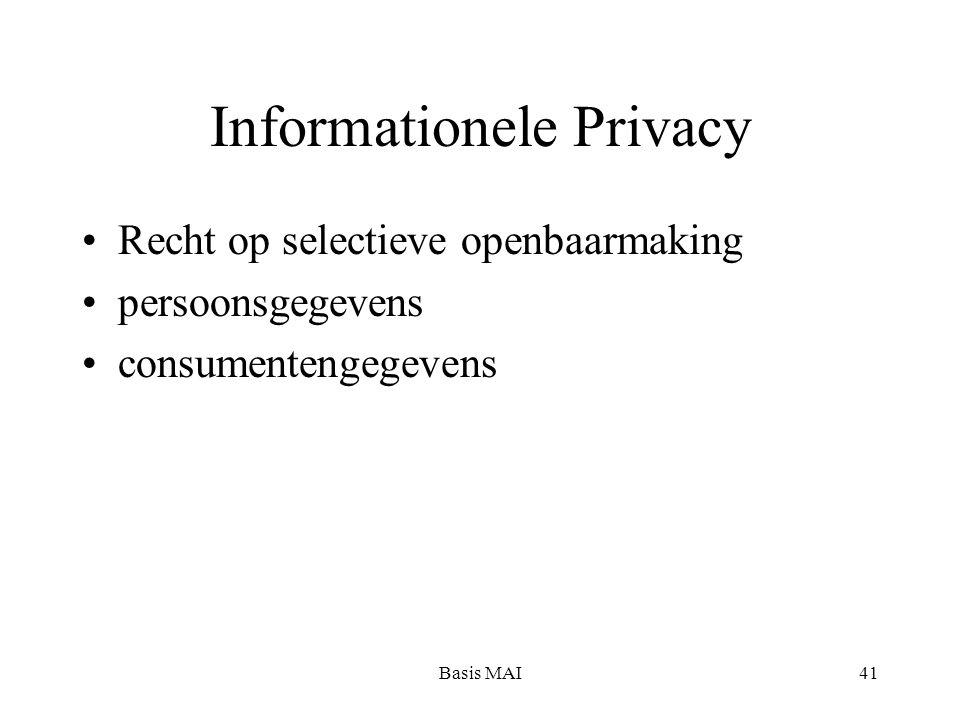 Basis MAI41 Informationele Privacy Recht op selectieve openbaarmaking persoonsgegevens consumentengegevens