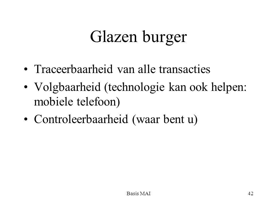 Basis MAI42 Glazen burger Traceerbaarheid van alle transacties Volgbaarheid (technologie kan ook helpen: mobiele telefoon) Controleerbaarheid (waar be