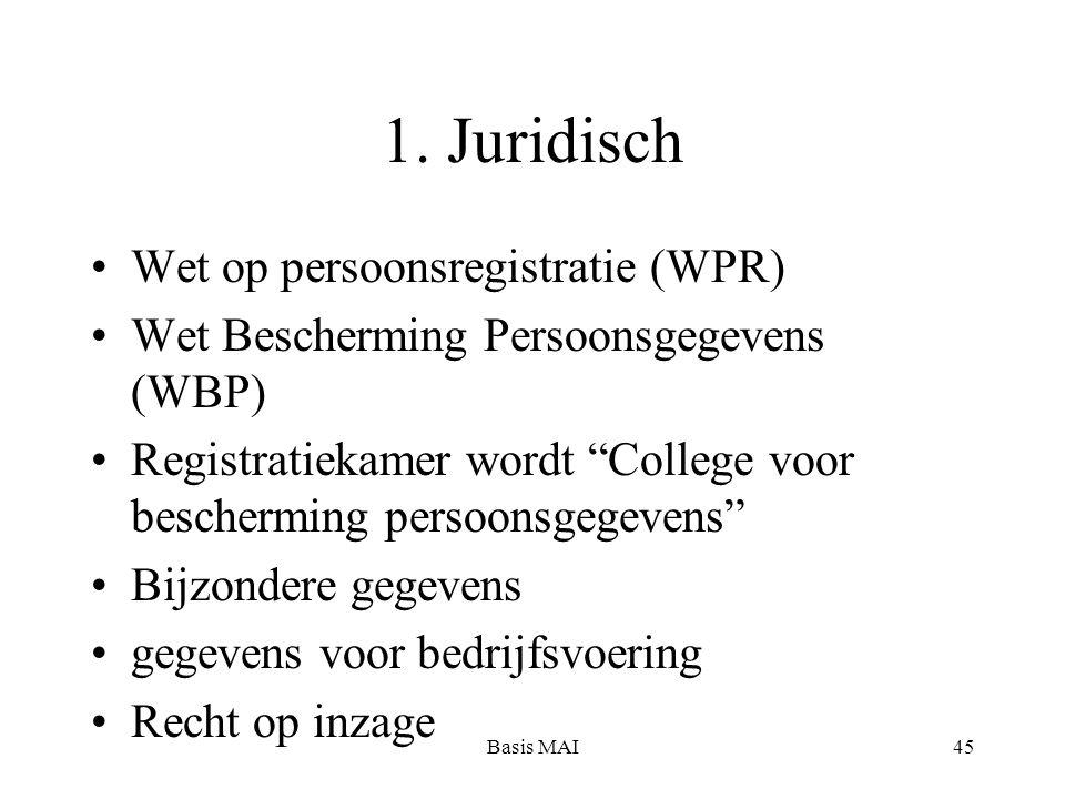 """Basis MAI45 1. Juridisch Wet op persoonsregistratie (WPR) Wet Bescherming Persoonsgegevens (WBP) Registratiekamer wordt """"College voor bescherming pers"""