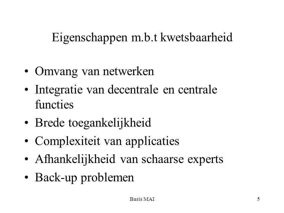 Basis MAI5 Eigenschappen m.b.t kwetsbaarheid Omvang van netwerken Integratie van decentrale en centrale functies Brede toegankelijkheid Complexiteit van applicaties Afhankelijkheid van schaarse experts Back-up problemen