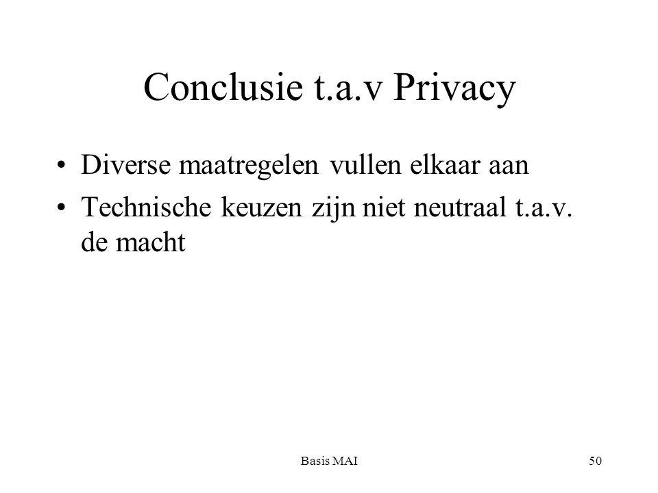 Basis MAI50 Conclusie t.a.v Privacy Diverse maatregelen vullen elkaar aan Technische keuzen zijn niet neutraal t.a.v.