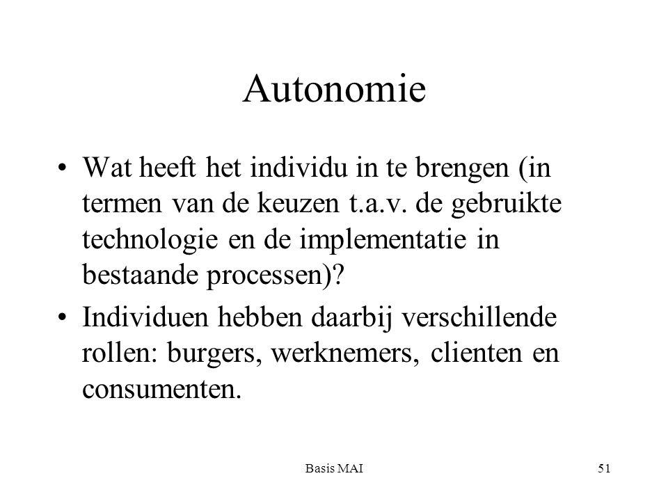 Basis MAI51 Autonomie Wat heeft het individu in te brengen (in termen van de keuzen t.a.v.