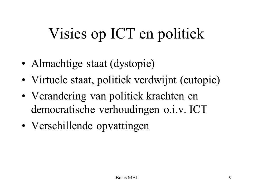 Basis MAI9 Visies op ICT en politiek Almachtige staat (dystopie) Virtuele staat, politiek verdwijnt (eutopie) Verandering van politiek krachten en democratische verhoudingen o.i.v.