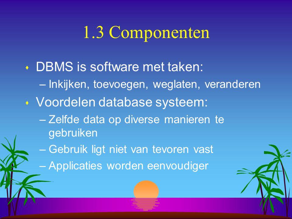 1.3 Componenten s DBMS is software met taken: –Inkijken, toevoegen, weglaten, veranderen s Voordelen database systeem: –Zelfde data op diverse maniere