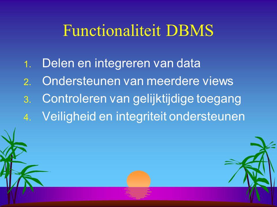 Functionaliteit DBMS 1. Delen en integreren van data 2. Ondersteunen van meerdere views 3. Controleren van gelijktijdige toegang 4. Veiligheid en inte