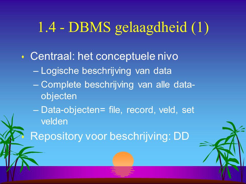 1.4 - DBMS gelaagdheid (1) s Centraal: het conceptuele nivo –Logische beschrijving van data –Complete beschrijving van alle data- objecten –Data-objec