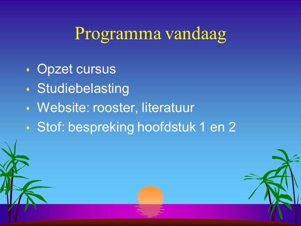 Programma vandaag s Opzet cursus s Studiebelasting s Website: rooster, literatuur s Stof: bespreking hoofdstuk 1 en 2
