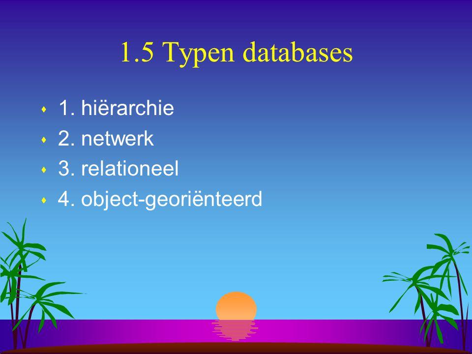 1.5 Typen databases s 1. hiërarchie s 2. netwerk s 3. relationeel s 4. object-georiënteerd