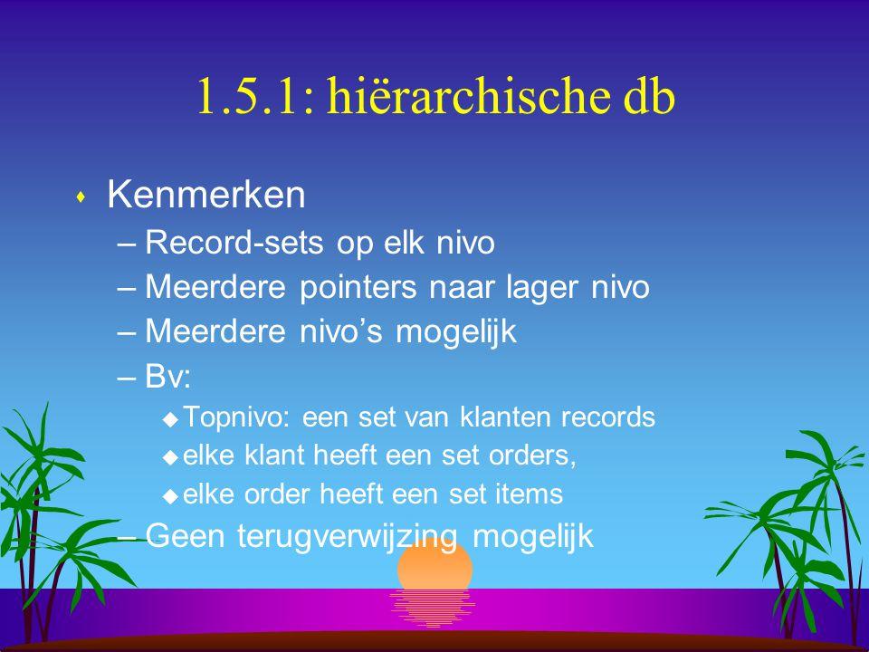 1.5.1: hiërarchische db s Kenmerken –Record-sets op elk nivo –Meerdere pointers naar lager nivo –Meerdere nivo's mogelijk –Bv: u Topnivo: een set van