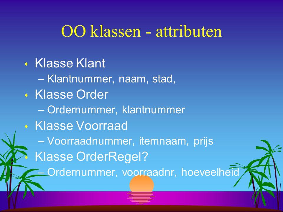 OO klassen - attributen s Klasse Klant –Klantnummer, naam, stad, s Klasse Order –Ordernummer, klantnummer s Klasse Voorraad –Voorraadnummer, itemnaam,