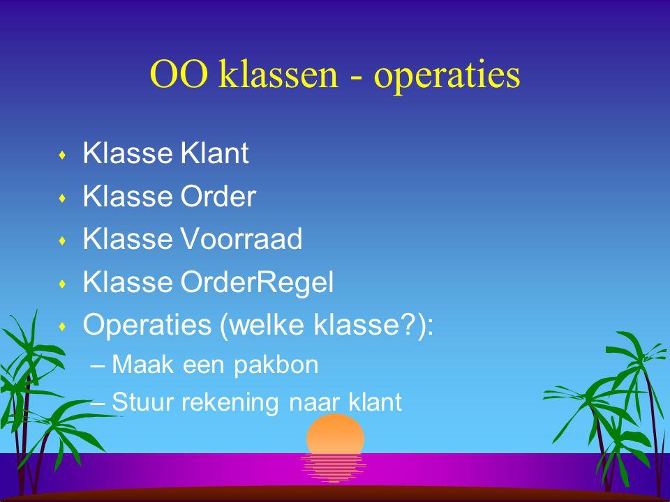OO klassen - operaties s Klasse Klant s Klasse Order s Klasse Voorraad s Klasse OrderRegel s Operaties (welke klasse?): –Maak een pakbon –Stuur rekeni