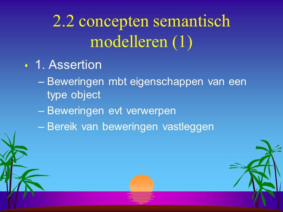 2.2 concepten semantisch modelleren (1) s 1. Assertion –Beweringen mbt eigenschappen van een type object –Beweringen evt verwerpen –Bereik van bewerin
