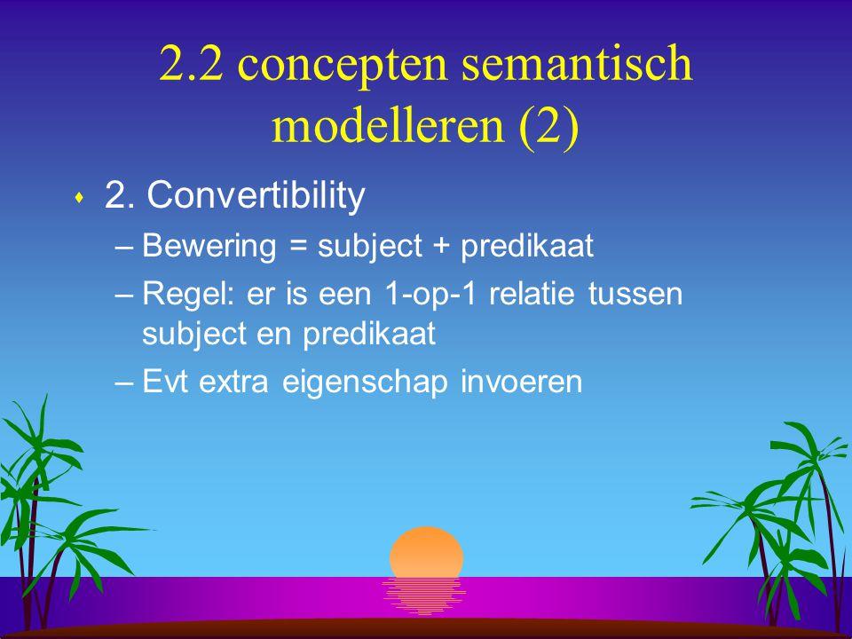 2.2 concepten semantisch modelleren (2) s 2. Convertibility –Bewering = subject + predikaat –Regel: er is een 1-op-1 relatie tussen subject en predika