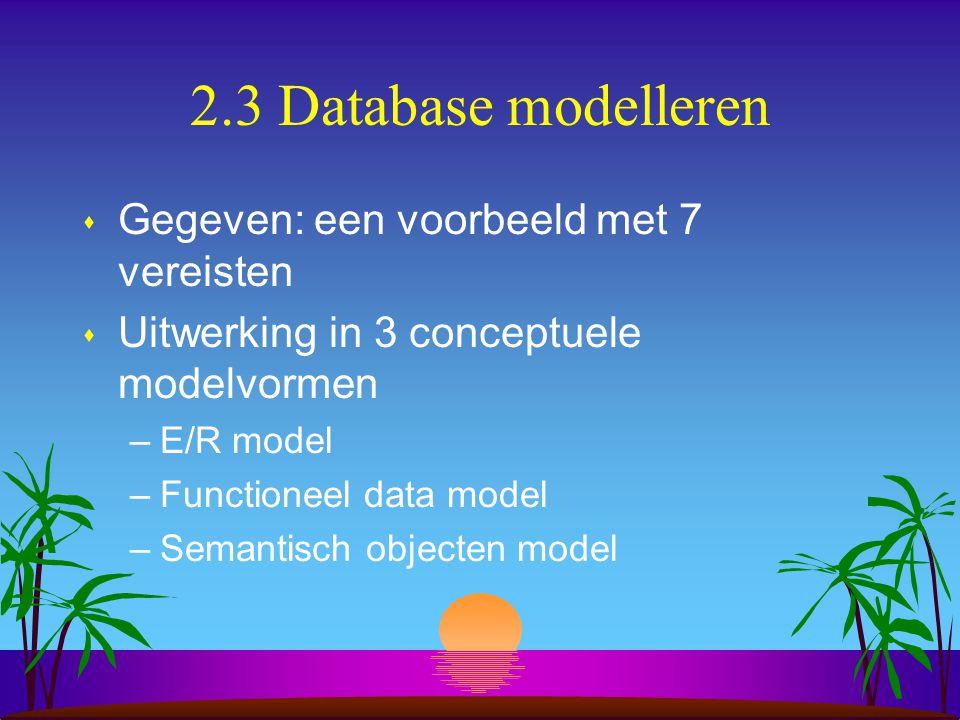 2.3 Database modelleren s Gegeven: een voorbeeld met 7 vereisten s Uitwerking in 3 conceptuele modelvormen –E/R model –Functioneel data model –Semanti