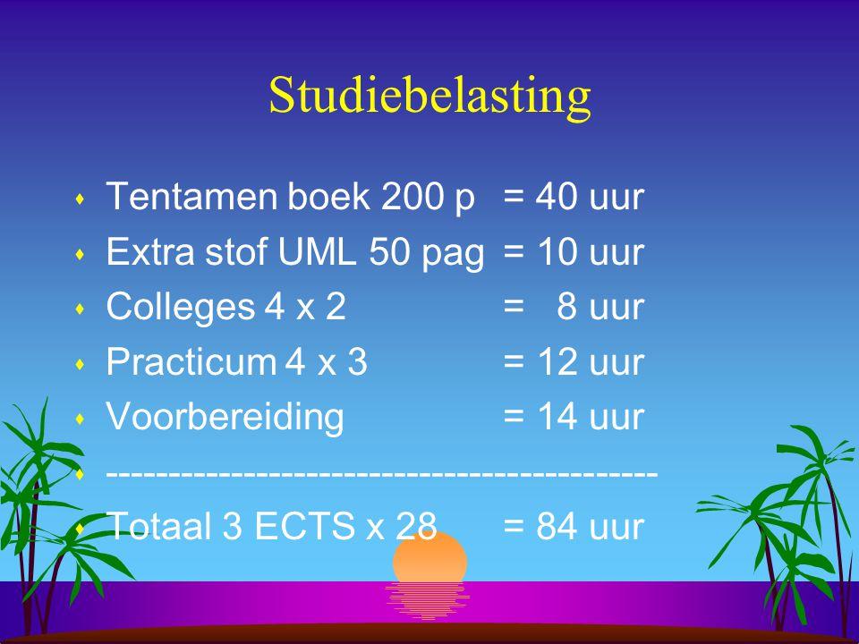 Studiebelasting s Tentamen boek 200 p = 40 uur s Extra stof UML 50 pag= 10 uur s Colleges 4 x 2 = 8 uur s Practicum 4 x 3 = 12 uur s Voorbereiding= 14