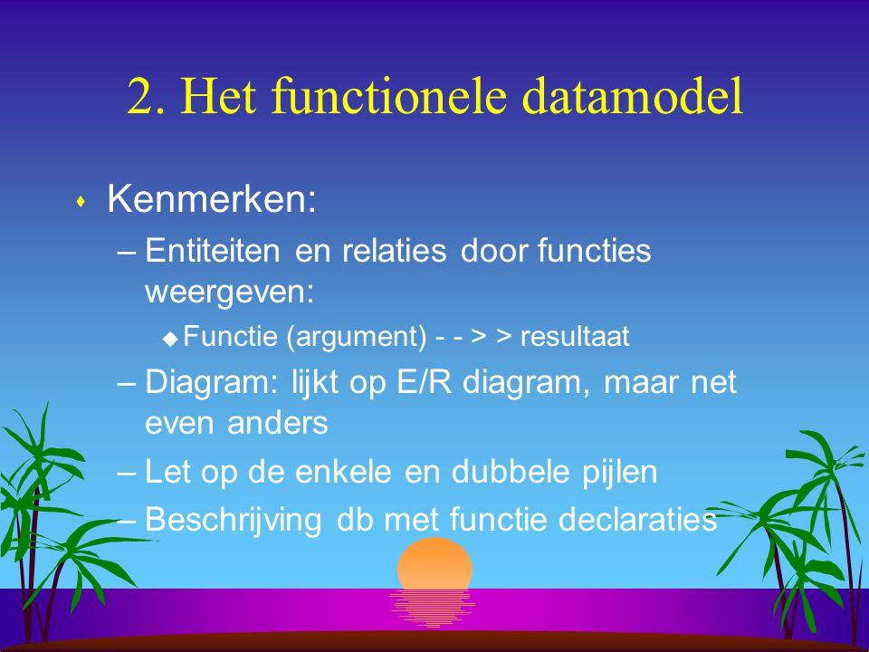 2. Het functionele datamodel s Kenmerken: –Entiteiten en relaties door functies weergeven: u Functie (argument) - - > > resultaat –Diagram: lijkt op E