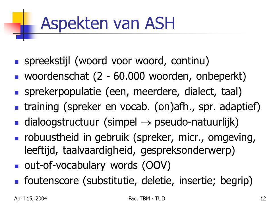 April 15, 2004Fac. TBM - TUD12 Aspekten van ASH spreekstijl (woord voor woord, continu) woordenschat (2 - 60.000 woorden, onbeperkt) sprekerpopulatie