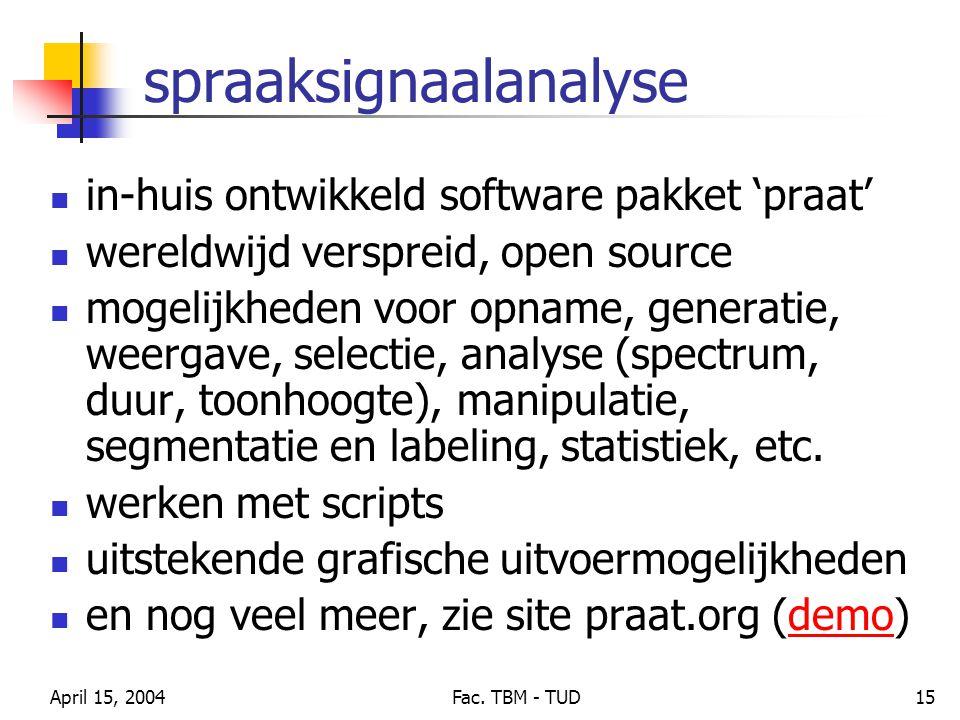 April 15, 2004Fac. TBM - TUD15 spraaksignaalanalyse in-huis ontwikkeld software pakket 'praat' wereldwijd verspreid, open source mogelijkheden voor op
