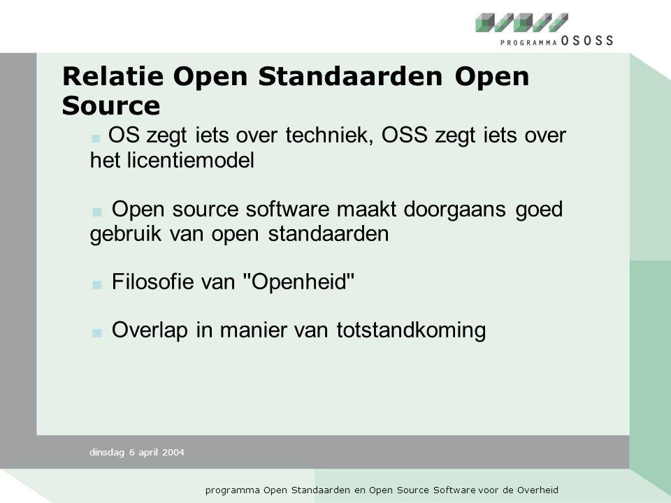 dinsdag 6 april 2004 programma Open Standaarden en Open Source Software voor de Overheid Relatie Open Standaarden Open Source  OS zegt iets over techniek, OSS zegt iets over het licentiemodel  Open source software maakt doorgaans goed gebruik van open standaarden  Filosofie van Openheid  Overlap in manier van totstandkoming
