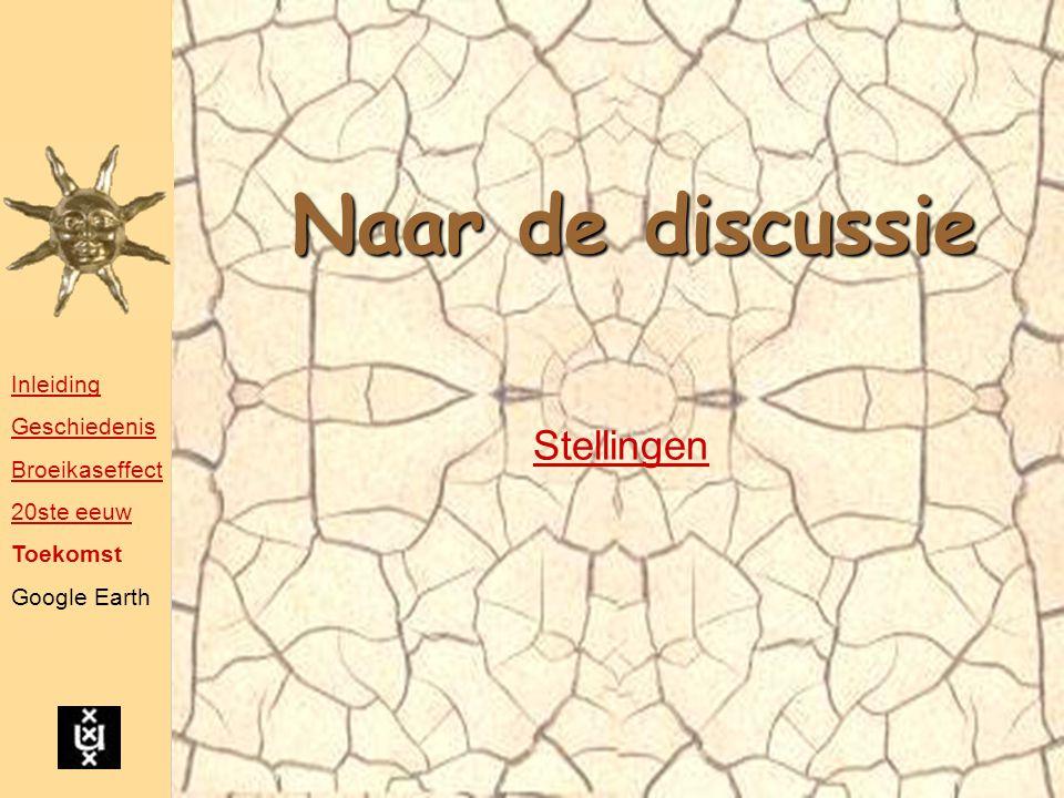Naar de discussie Stellingen Inleiding Geschiedenis Broeikaseffect 20ste eeuw Toekomst Google Earth