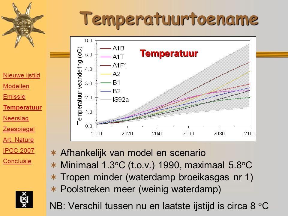 Temperatuurtoename  Afhankelijk van model en scenario  Minimaal 1.3 o C (t.o.v.) 1990, maximaal 5.8 o C  Tropen minder (waterdamp broeikasgas nr 1)