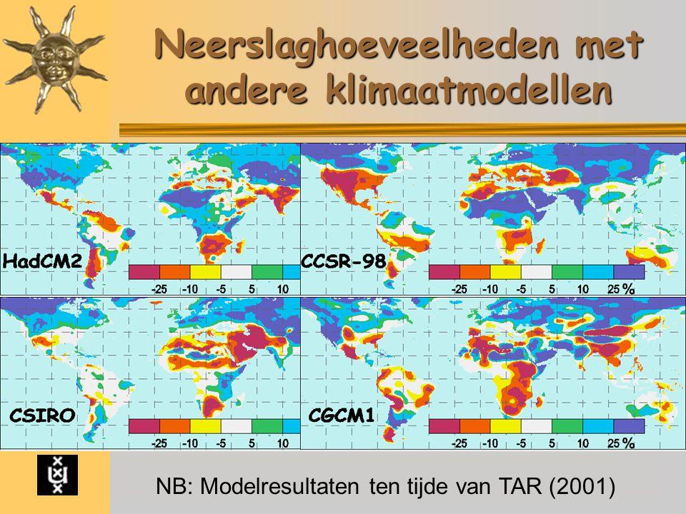 Nieuwe ijstijd Modellen Emissie Temperatuur Neerslag Zeespiegel Art. Nature IPCC 2007 Conclusie Neerslaghoeveelheden met andere klimaatmodellen NB: Mo