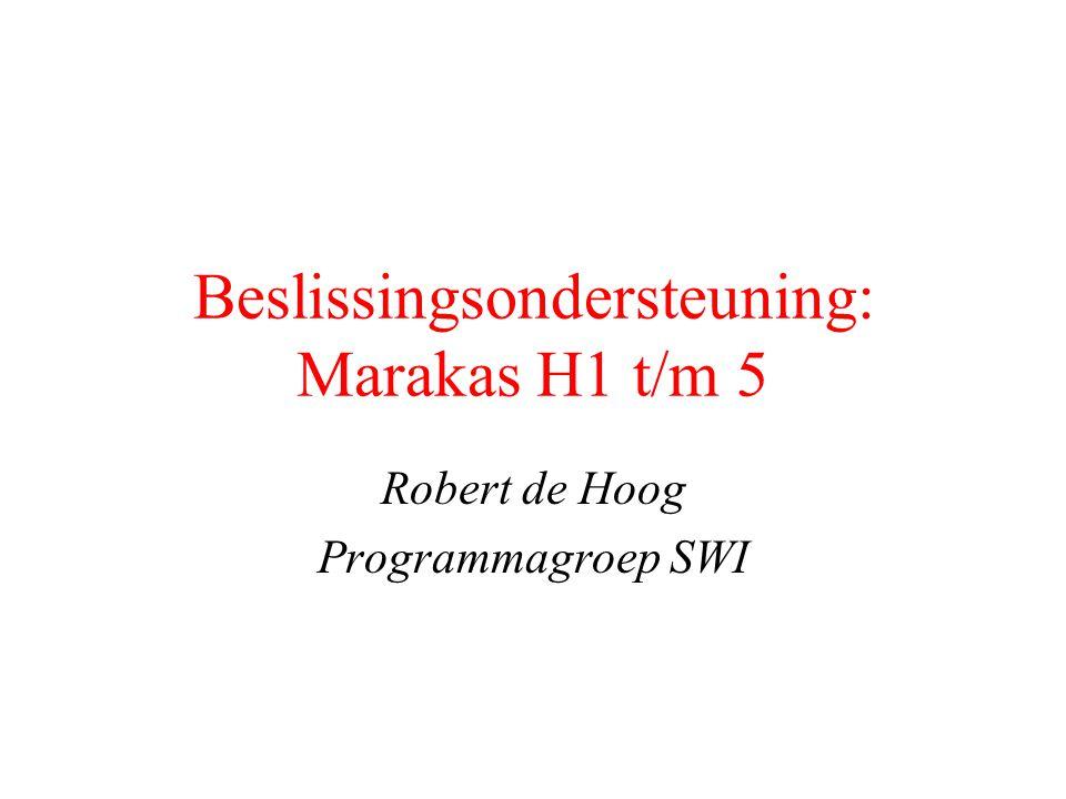 Beslissingsondersteuning: Marakas H1 t/m 5 Robert de Hoog Programmagroep SWI