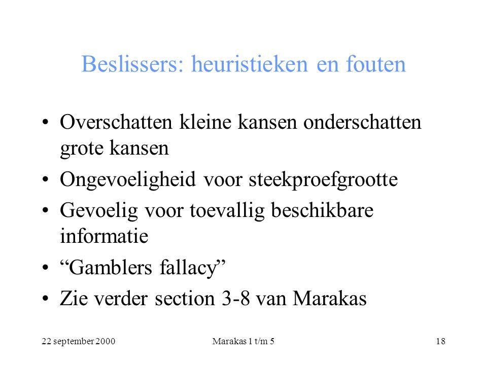 22 september 2000Marakas 1 t/m 518 Beslissers: heuristieken en fouten Overschatten kleine kansen onderschatten grote kansen Ongevoeligheid voor steekproefgrootte Gevoelig voor toevallig beschikbare informatie Gamblers fallacy Zie verder section 3-8 van Marakas