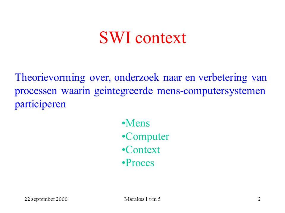 22 september 2000Marakas 1 t/m 52 SWI context Theorievorming over, onderzoek naar en verbetering van processen waarin geintegreerde mens-computersystemen participeren Mens Computer Context Proces