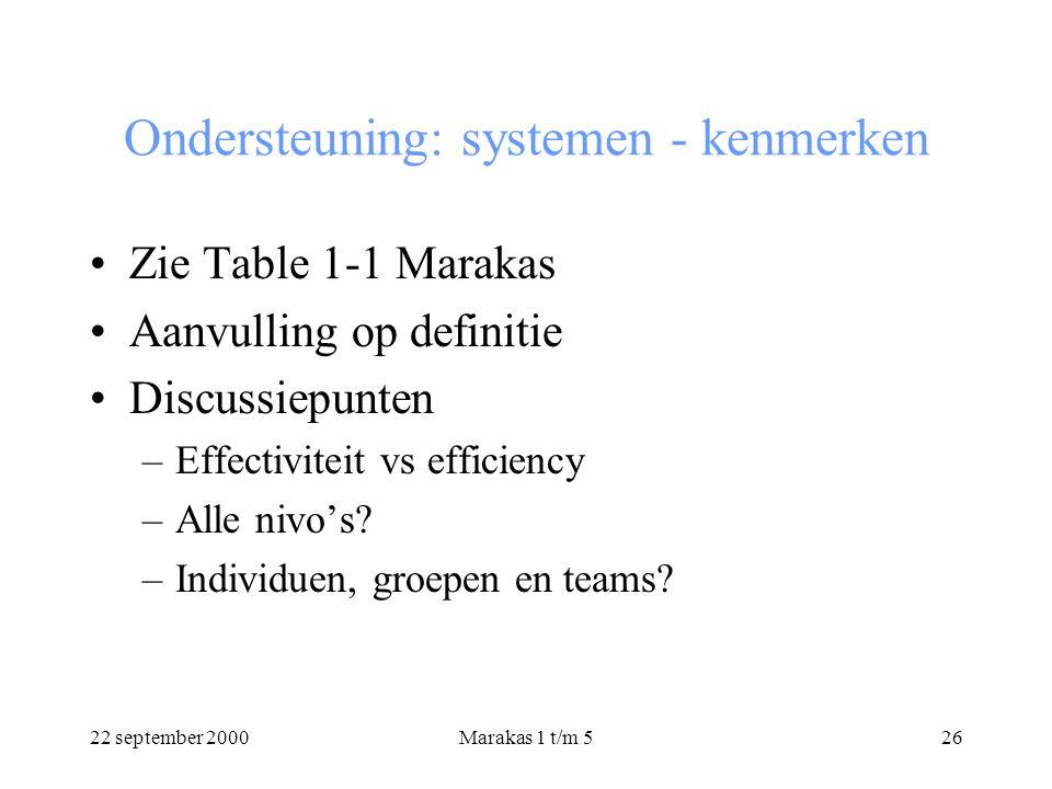 22 september 2000Marakas 1 t/m 526 Ondersteuning: systemen - kenmerken Zie Table 1-1 Marakas Aanvulling op definitie Discussiepunten –Effectiviteit vs efficiency –Alle nivo's.