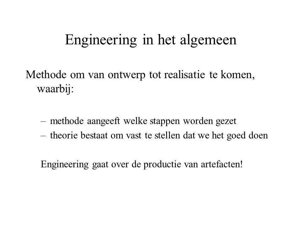 Engineering in het algemeen Methode om van ontwerp tot realisatie te komen, waarbij: –methode aangeeft welke stappen worden gezet –theorie bestaat om vast te stellen dat we het goed doen Engineering gaat over de productie van artefacten!