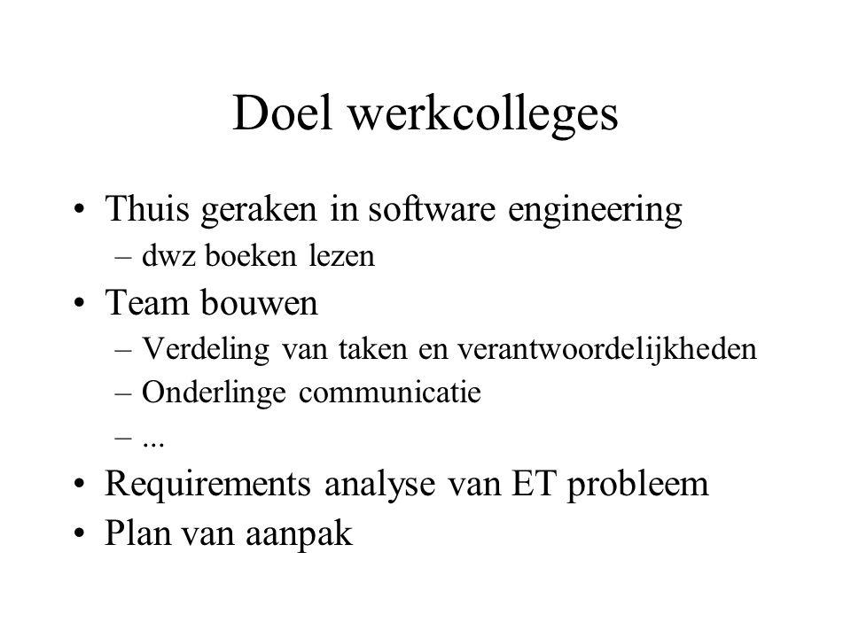 Doel werkcolleges Thuis geraken in software engineering –dwz boeken lezen Team bouwen –Verdeling van taken en verantwoordelijkheden –Onderlinge communicatie –...