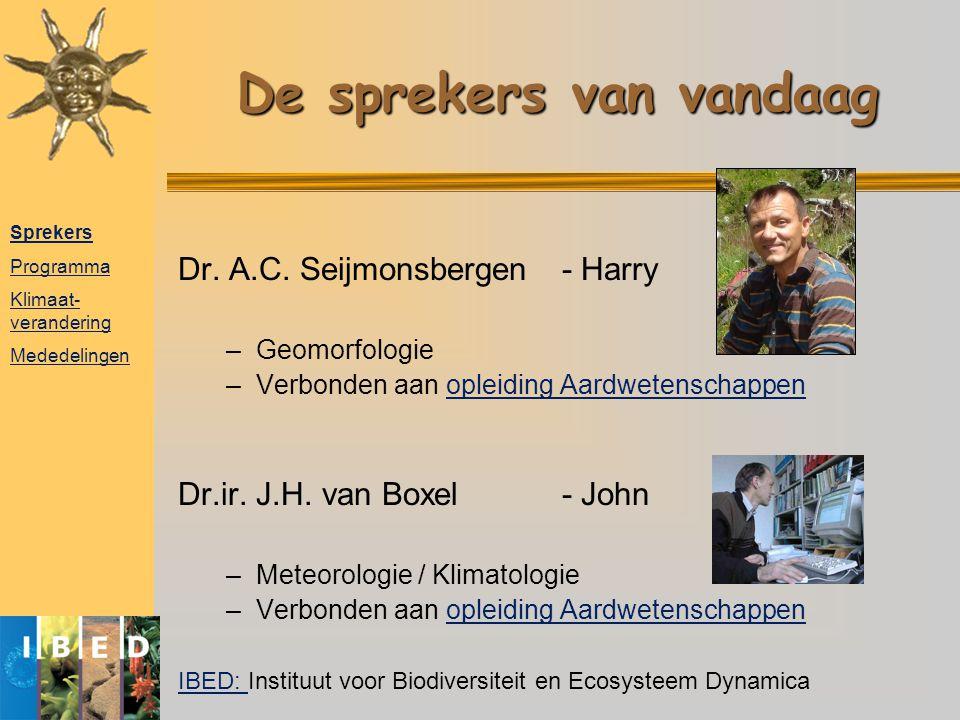 De sprekers van vandaag Dr. A.C. Seijmonsbergen- Harry –Geomorfologie –Verbonden aan opleiding Aardwetenschappenopleiding Aardwetenschappen Dr.ir. J.H