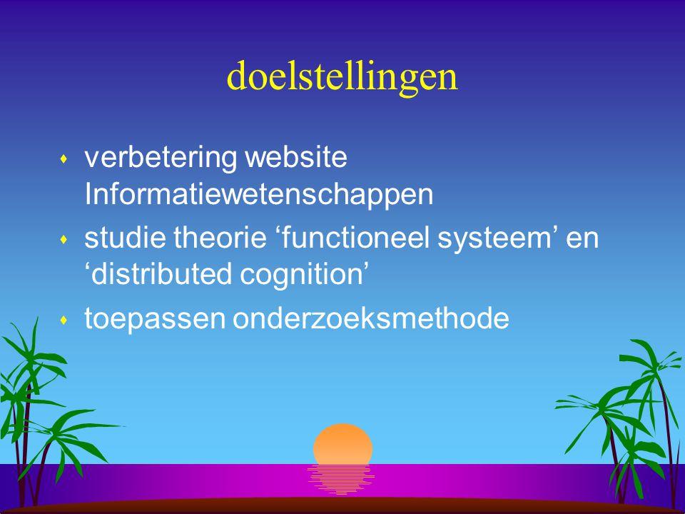 doelstellingen s verbetering website Informatiewetenschappen s studie theorie 'functioneel systeem' en 'distributed cognition' s toepassen onderzoeksmethode