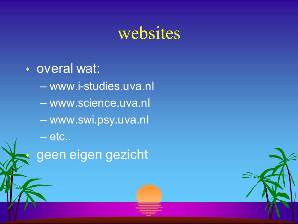websites s overal wat: –www.i-studies.uva.nl –www.science.uva.nl –www.swi.psy.uva.nl –etc..