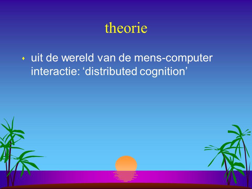 theorie s uit de wereld van de mens-computer interactie: 'distributed cognition'