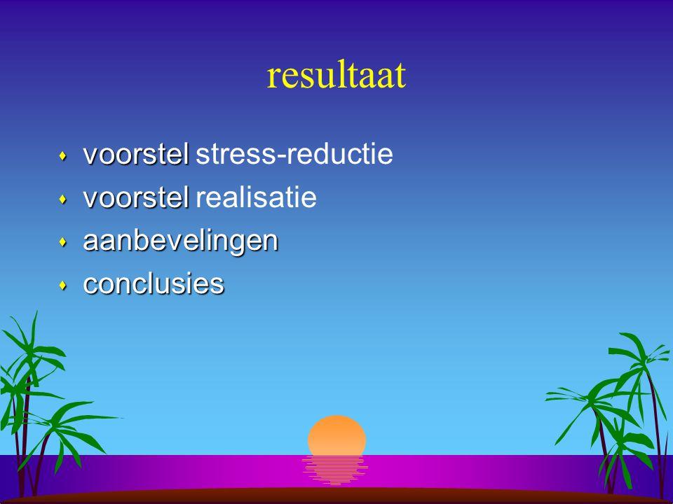 resultaat s voorstel s voorstel stress-reductie s voorstel s voorstel realisatie s aanbevelingen s conclusies