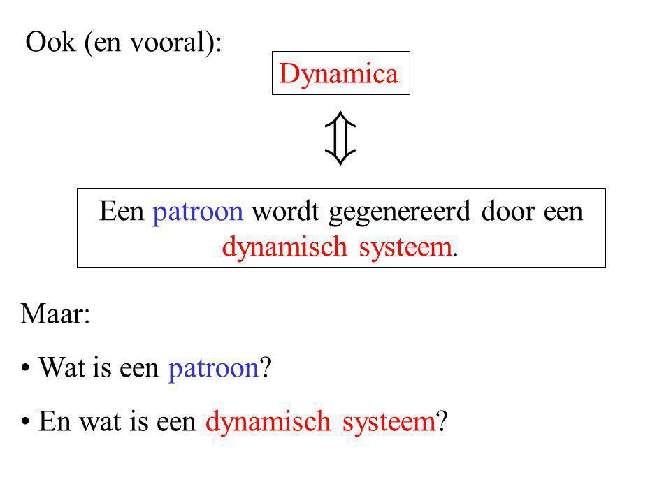 Maar: Wat is een patroon? En wat is een dynamisch systeem? Een patroon wordt gegenereerd door een dynamisch systeem. Ook (en vooral): Dynamica