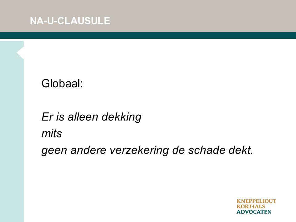 NA-U-CLAUSULE Globaal: Er is alleen dekking mits geen andere verzekering de schade dekt.