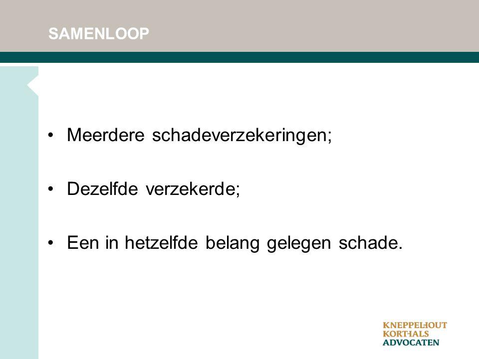 SAMENLOOP Meerdere schadeverzekeringen; Dezelfde verzekerde; Een in hetzelfde belang gelegen schade.