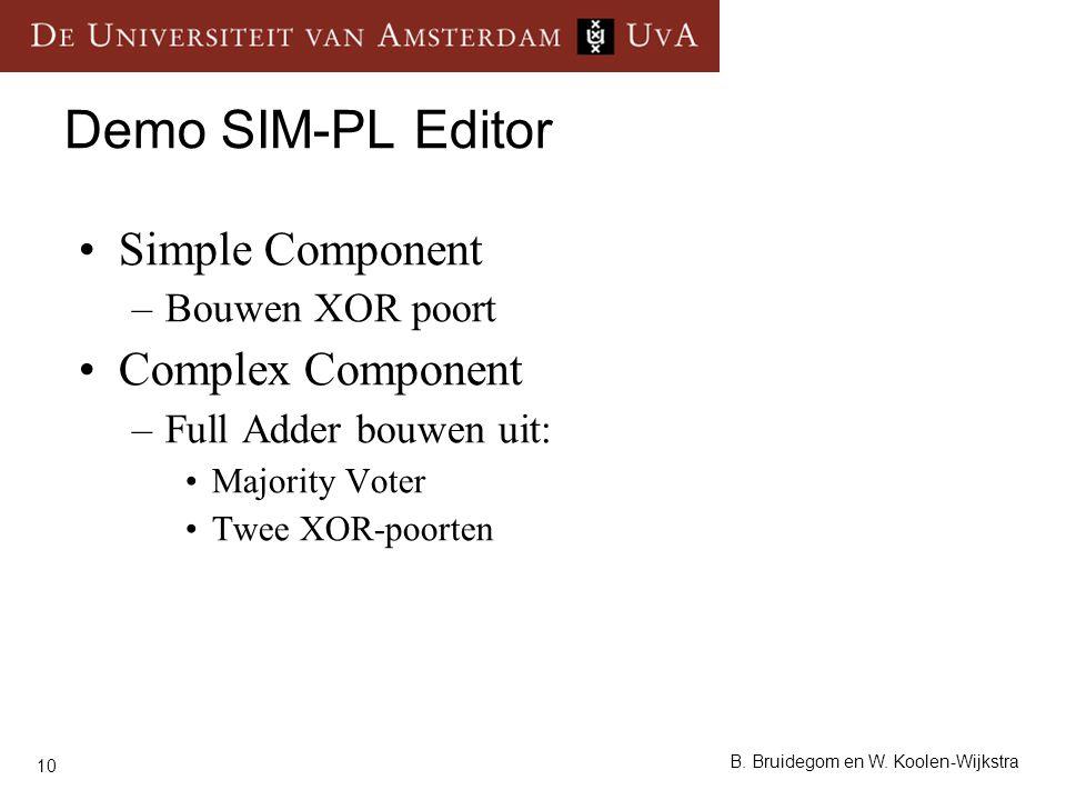 10 B. Bruidegom en W. Koolen-Wijkstra Demo SIM-PL Editor Simple Component –Bouwen XOR poort Complex Component –Full Adder bouwen uit: Majority Voter T