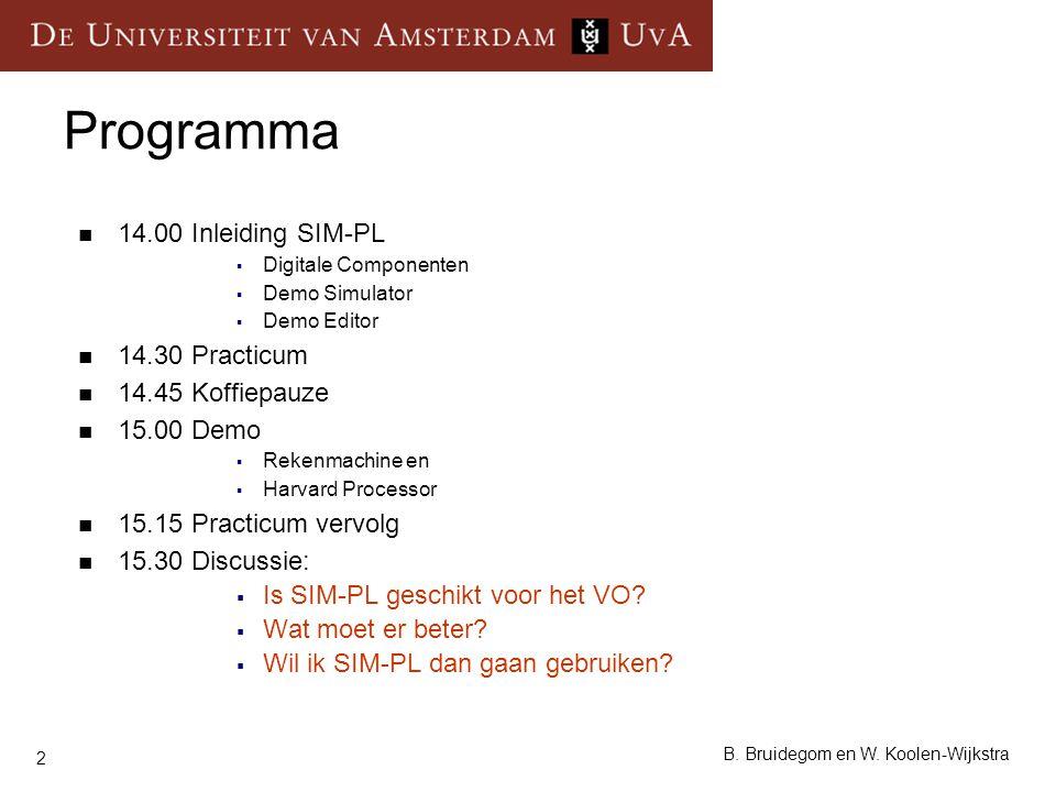 2 B. Bruidegom en W. Koolen-Wijkstra Programma 14.00 Inleiding SIM-PL  Digitale Componenten  Demo Simulator  Demo Editor 14.30 Practicum 14.45 Koff