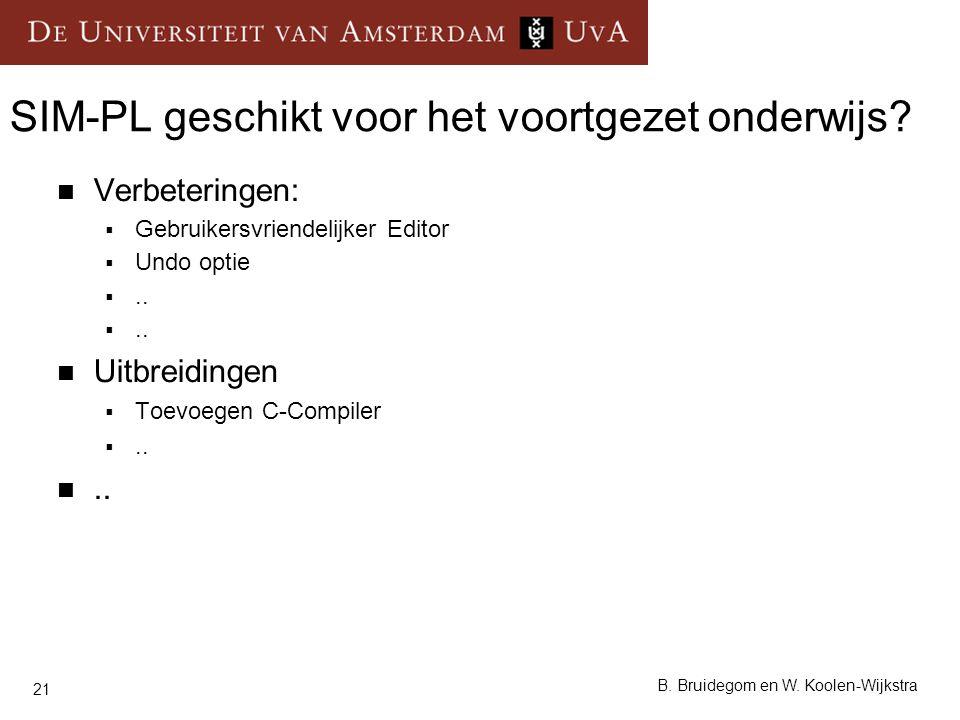 21 B. Bruidegom en W. Koolen-Wijkstra SIM-PL geschikt voor het voortgezet onderwijs? Verbeteringen:  Gebruikersvriendelijker Editor  Undo optie ..