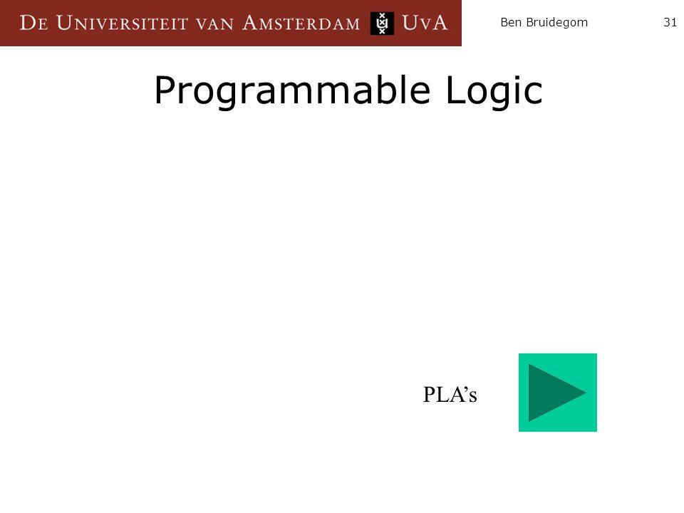 Ben Bruidegom31 Programmable Logic PLA's