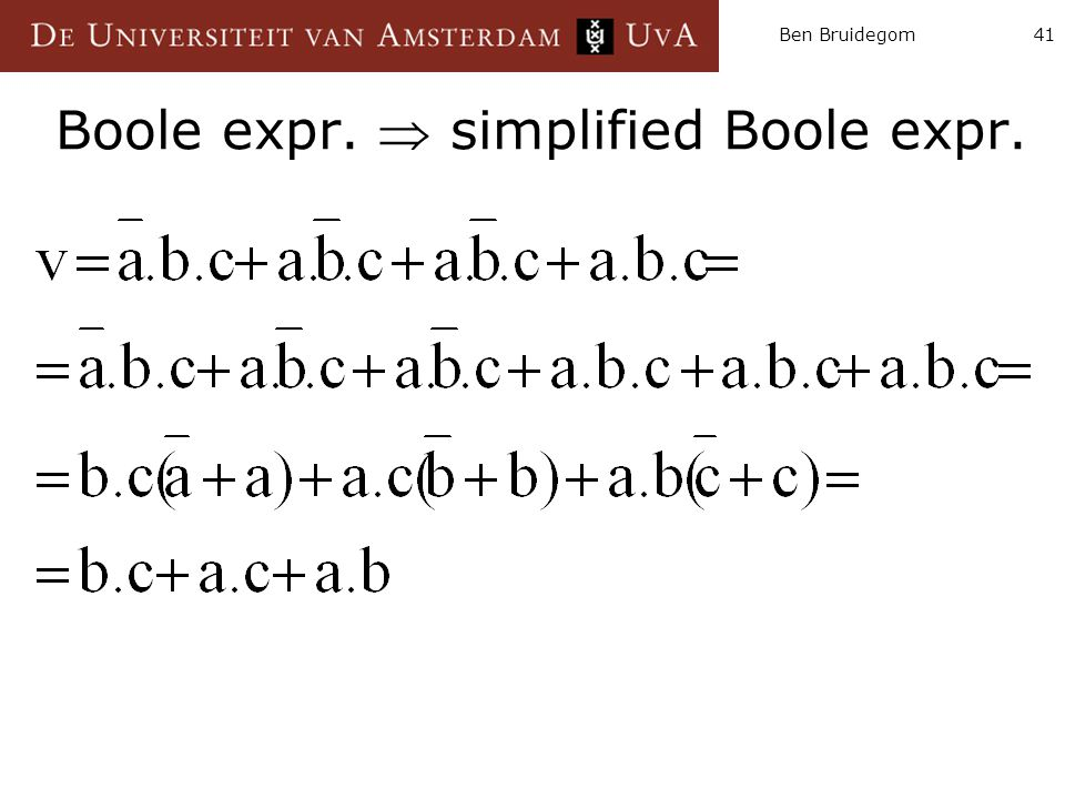 Ben Bruidegom41 Boole expr.  simplified Boole expr.