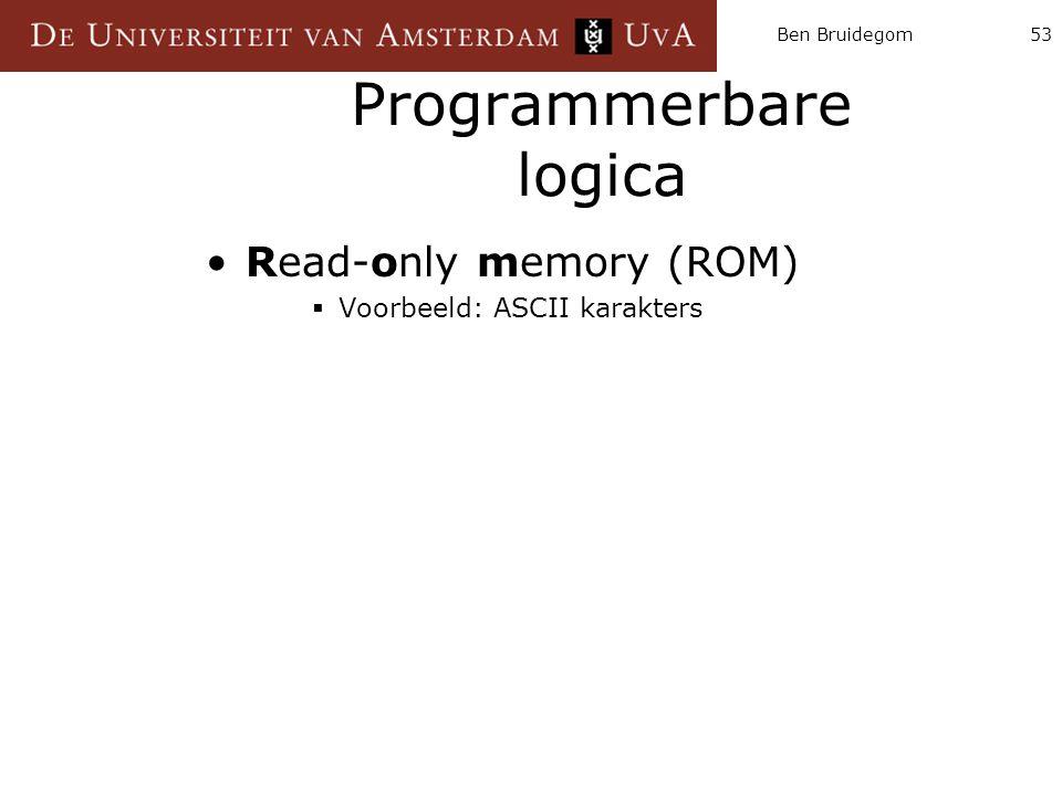 Ben Bruidegom53 Programmerbare logica Read-only memory (ROM)  Voorbeeld: ASCII karakters