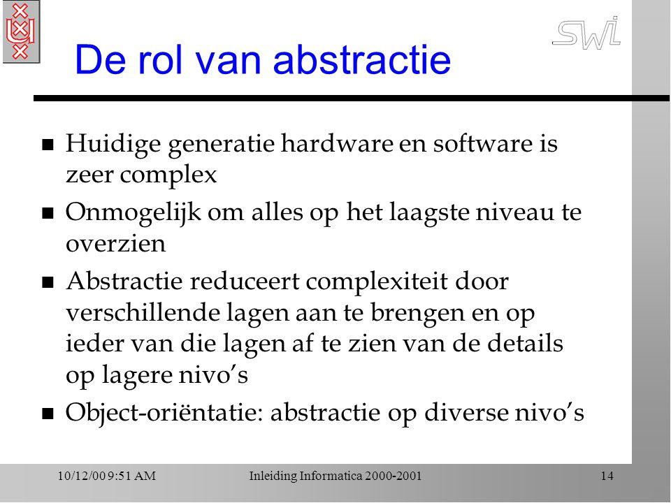 10/12/00 9:51 AMInleiding Informatica 2000-200114 De rol van abstractie n Huidige generatie hardware en software is zeer complex n Onmogelijk om alles op het laagste niveau te overzien n Abstractie reduceert complexiteit door verschillende lagen aan te brengen en op ieder van die lagen af te zien van de details op lagere nivo's n Object-oriëntatie: abstractie op diverse nivo's
